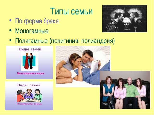 Типы семьи По форме брака Моногамные Полигамные (полигиния, полиандрия)