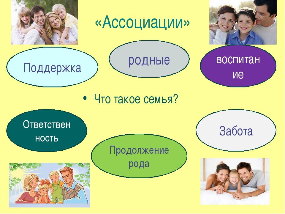 «Ассоциации» Что такое семья? Поддержка родные Ответственность Продолжение ро...