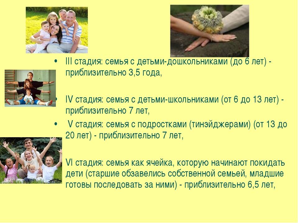 III стадия: семья с детьми-дошкольниками (до 6 лет) - приблизительно 3,5 года...