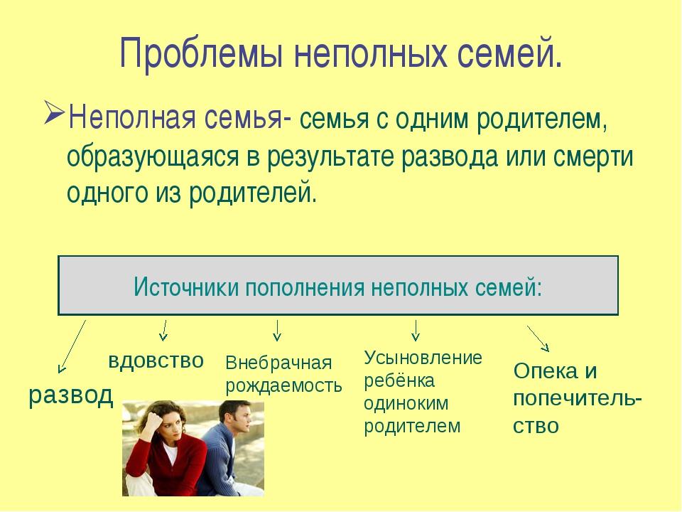 Проблемы неполных семей. Неполная семья- семья с одним родителем, образующаяс...