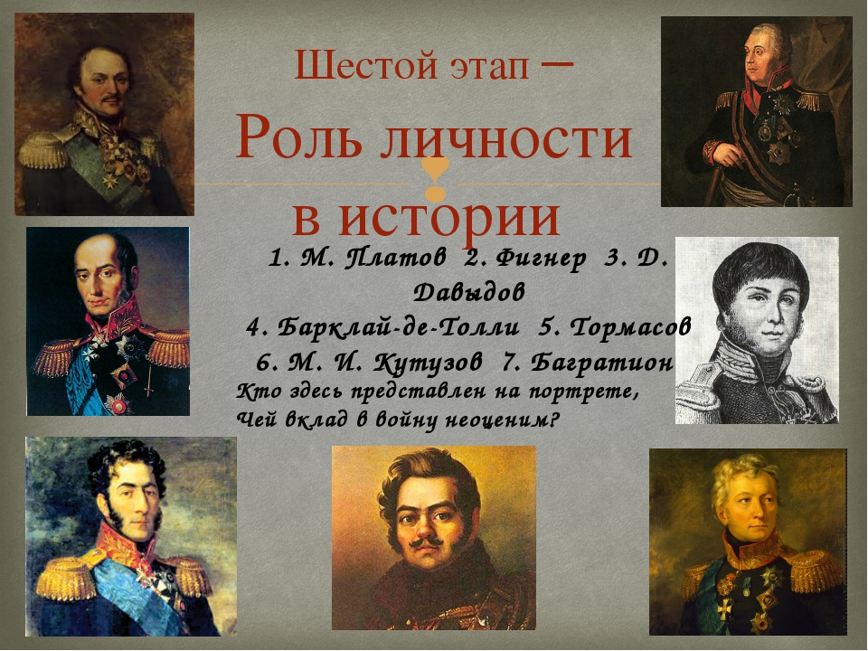 Шестой этап – Роль личности в истории 1. М. Платов 2. Фигнер 3. Д. Давыдов 4....