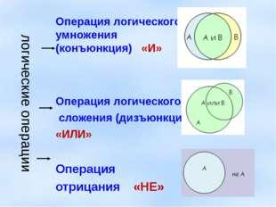 логические операции Операция логического умножения (конъюнкция) «И» Операция