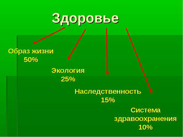 Здоровье Наследственность 15% Образ жизни 50% Экология 25% Система здравоохр...