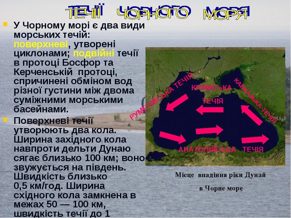 У Чорному морі є два види морських течій: поверхневі, утворені циклонами; по...