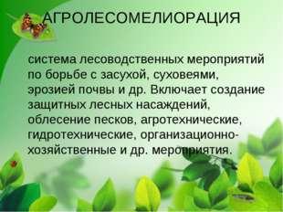 АГРОЛЕСОМЕЛИОРАЦИЯ система лесоводственных мероприятий по борьбе с засухой, с
