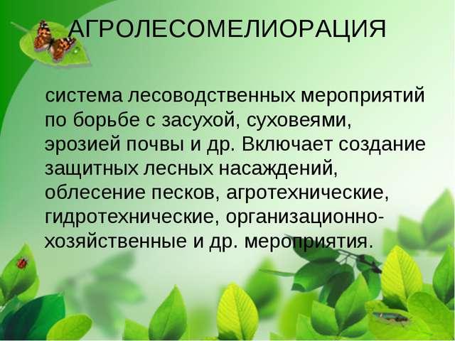 АГРОЛЕСОМЕЛИОРАЦИЯ система лесоводственных мероприятий по борьбе с засухой, с...