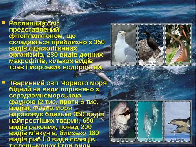 Рослинний світ представлений фітопланктоном, що складається приблизно з 350 в...