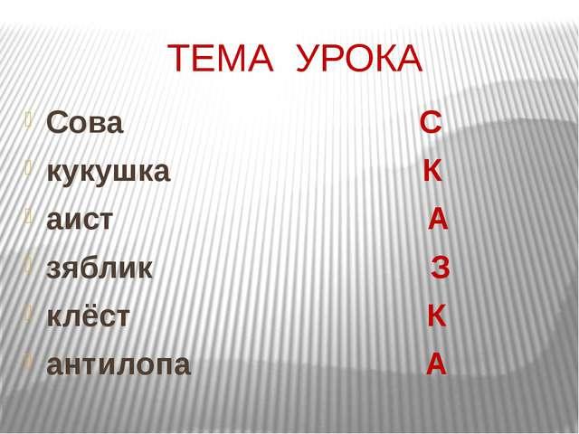 ТЕМА УРОКА Сова С кукушка К аист А зяблик З клёст К антилопа А