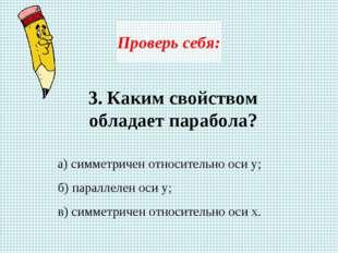 Проверь себя: 3. Каким свойством обладает парабола? а) симметричен относитель