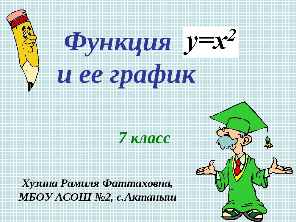 Функция и ее график 7 класс Хузина Рамиля Фаттаховна, МБОУ АСОШ №2, с.Актаныш