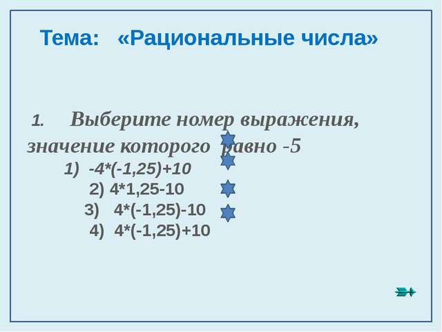 1. Выберите номер выражения, значение которого равно -5 1) -4*(-1,25)+10 2)...