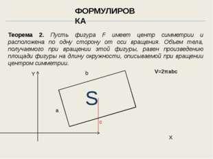 Теорема 2. Пусть фигура F имеет центр симметрии и расположена по одну сторону