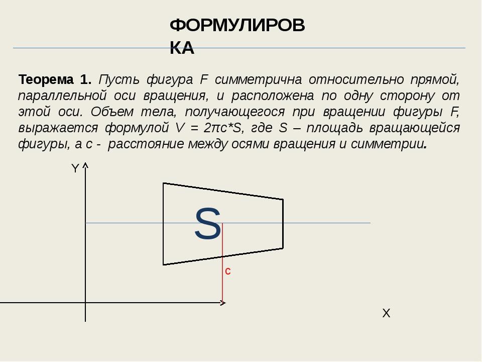 Теорема 1. Пусть фигура F симметрична относительно прямой, параллельной оси в...