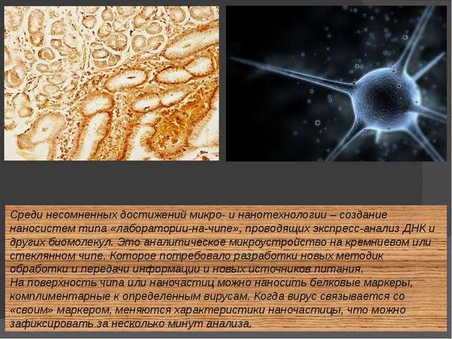 Среди несомненных достижений микро- и нанотехнологии – создание наносистем ти...