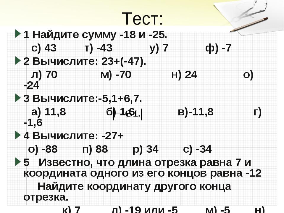 Тест: 1 Найдите сумму -18 и -25. с) 43 т) -43 у) 7 ф) -7 2 Вычислите: 23+(-47...