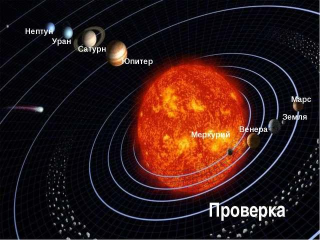 Меркурий Венера Земля Марс Юпитер Сатурн Уран Нептун Проверка