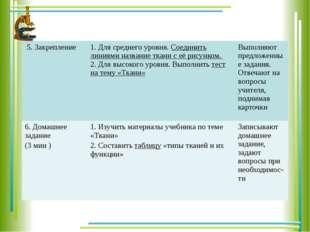 5. Закрепление 1. Для среднего уровня.Соединить линиями название ткани с её р