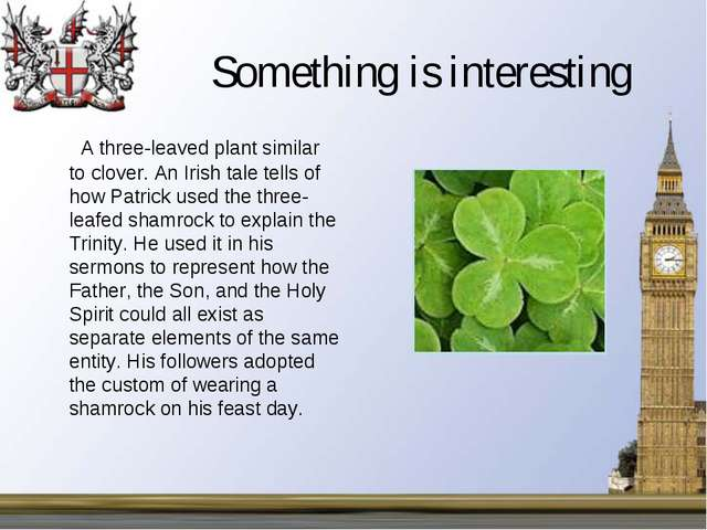 Something is interesting A three-leaved plant similar to clover. An Irish tal...