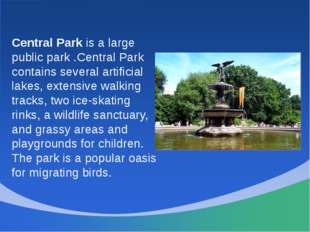 Central Park is a large public park .Central Park contains several artificial