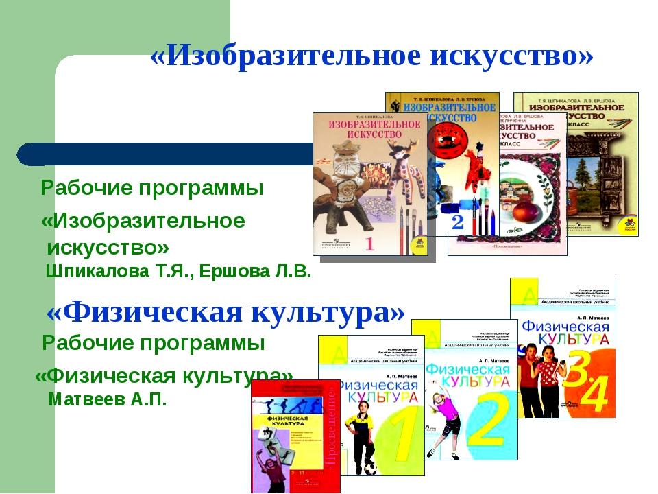«Изобразительное искусство» Рабочие программы «Изобразительное искусство» Шп...