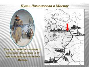 Путь Ломоносова в Москву Сын крестьянина-помора из Холмогор Ломоносов в 19 ле