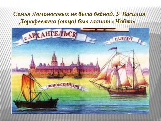 Семья Ломоносовых не была бедной. У Василия Дорофеевича (отца) был галиот «Ча...