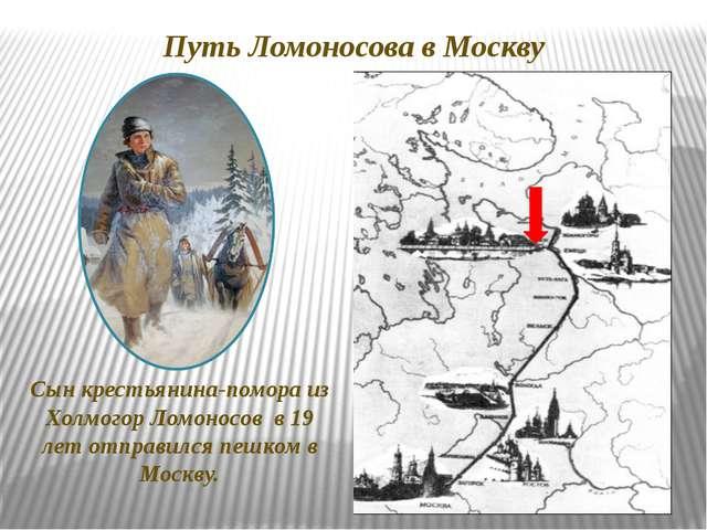 Путь Ломоносова в Москву Сын крестьянина-помора из Холмогор Ломоносов в 19 ле...