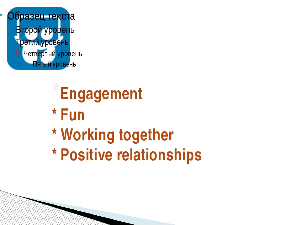 *Engagement * Fun * Working together * Positive relationships