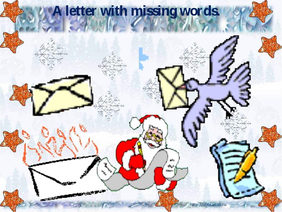 A letter with missing words.