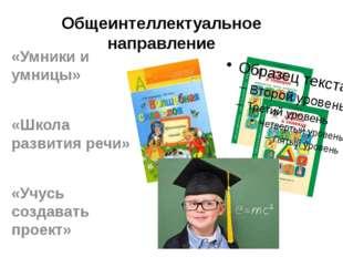 Общеинтеллектуальное направление «Умники и умницы» «Школа развития речи» «Учу