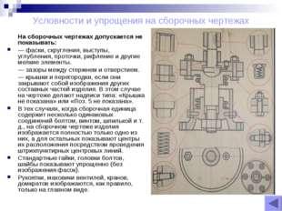 Условности и упрощения на сборочных чертежах На сборочных чертежах допускаетс