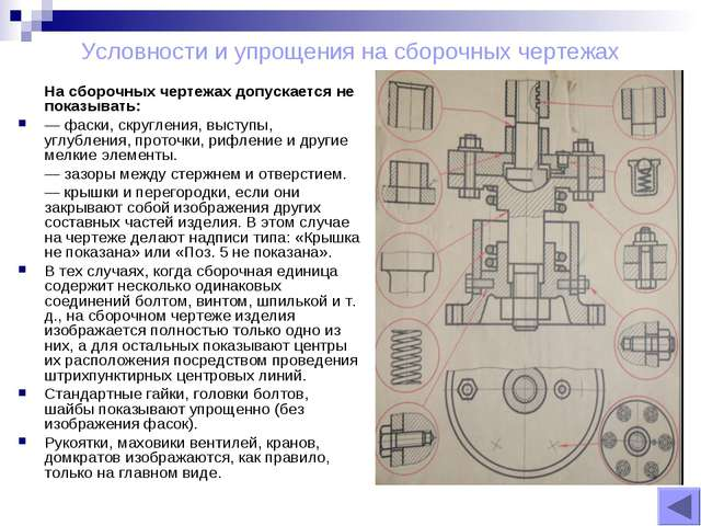 Условности и упрощения на сборочных чертежах На сборочных чертежах допускаетс...