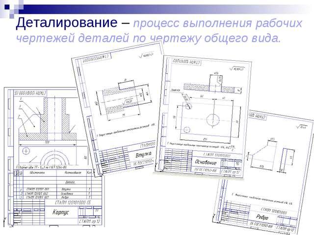 Деталирование – процесс выполнения рабочих чертежей деталей по чертежу общего...