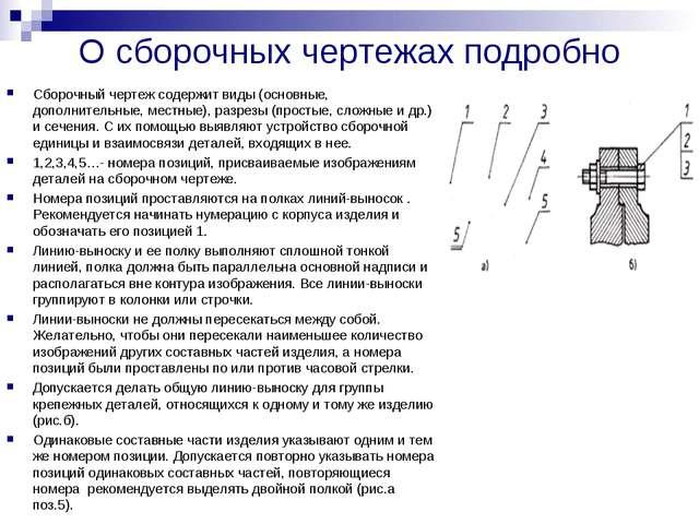 О сборочных чертежах подробно Сборочный чертеж содержит виды (основные, допол...
