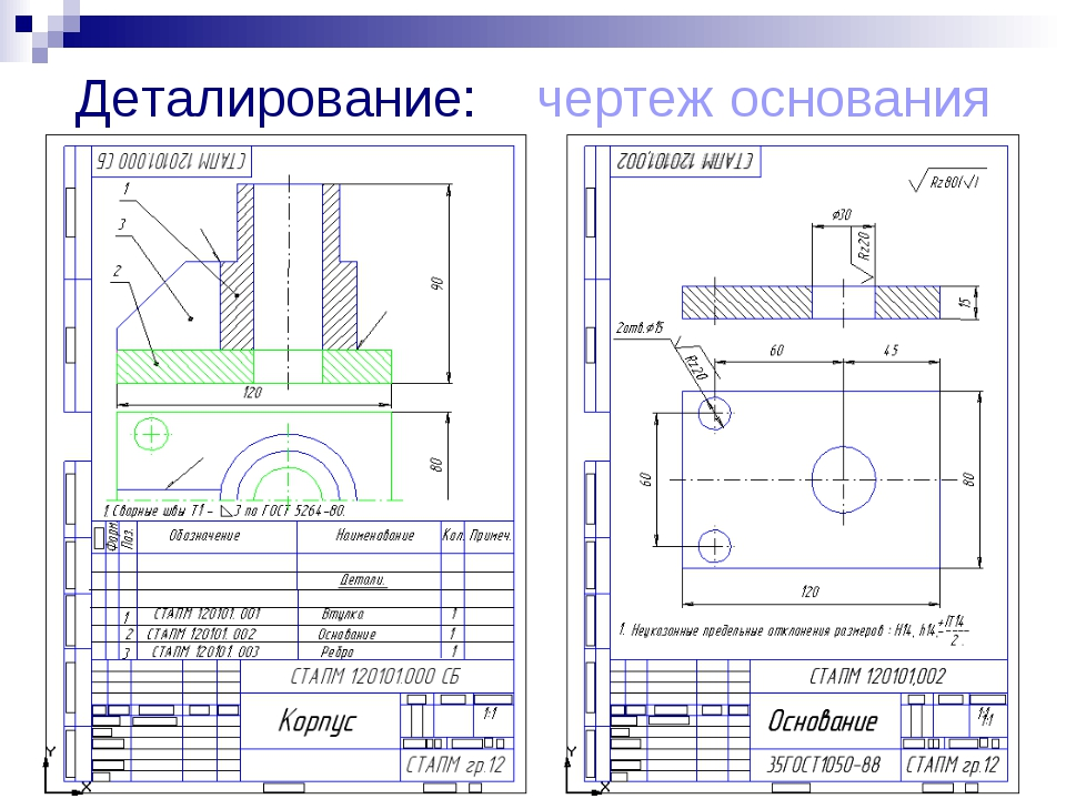 Деталирование: чертеж основания