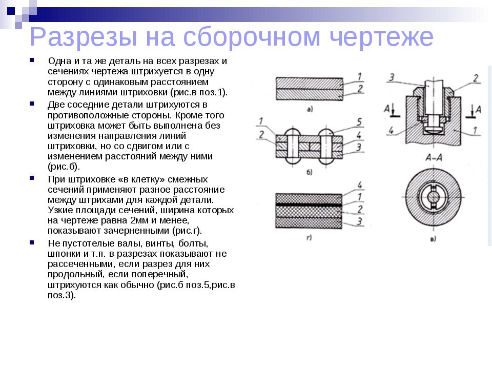 Разрезы на сборочном чертеже Одна и та же деталь на всех разрезах и сечениях...