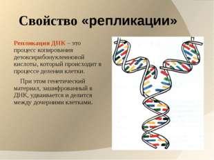 Свойство «репликации» Репликация ДНК – это процесс копирования дезоксирибонук