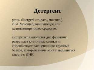Детергент (лат.dētergerē стирать, чистить). хим.Моющее, очищающее или дези