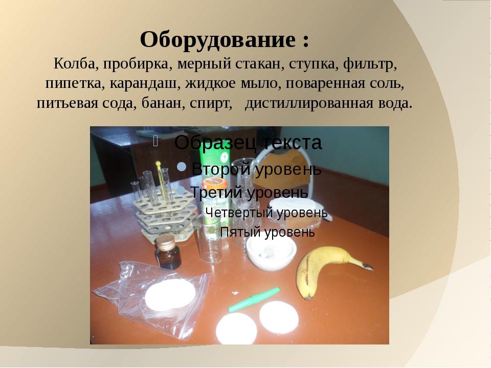 Оборудование : Колба, пробирка, мерный стакан, ступка, фильтр, пипетка, каран...