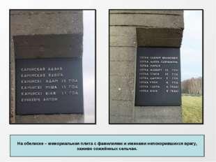 На обелиске – мемориальная плита с фамилиями и именами непокорившихся врагу,