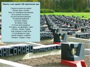 Память о них хранят 186 трагических урн. Струятся капли на гранит И вниз теку