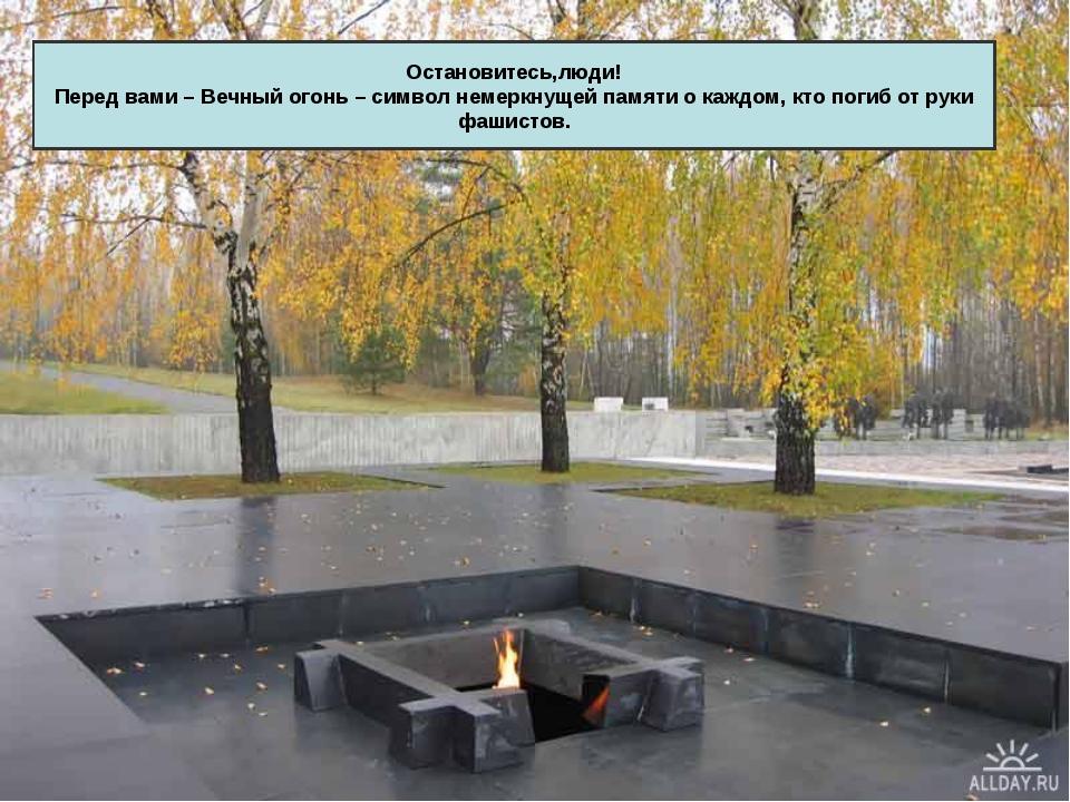 Остановитесь,люди! Перед вами – Вечный огонь – символ немеркнущей памяти о ка...