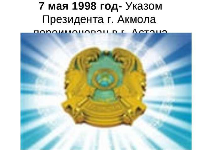 7 мая 1998 год- Указом Президента г. Акмола переименован в г. Астана