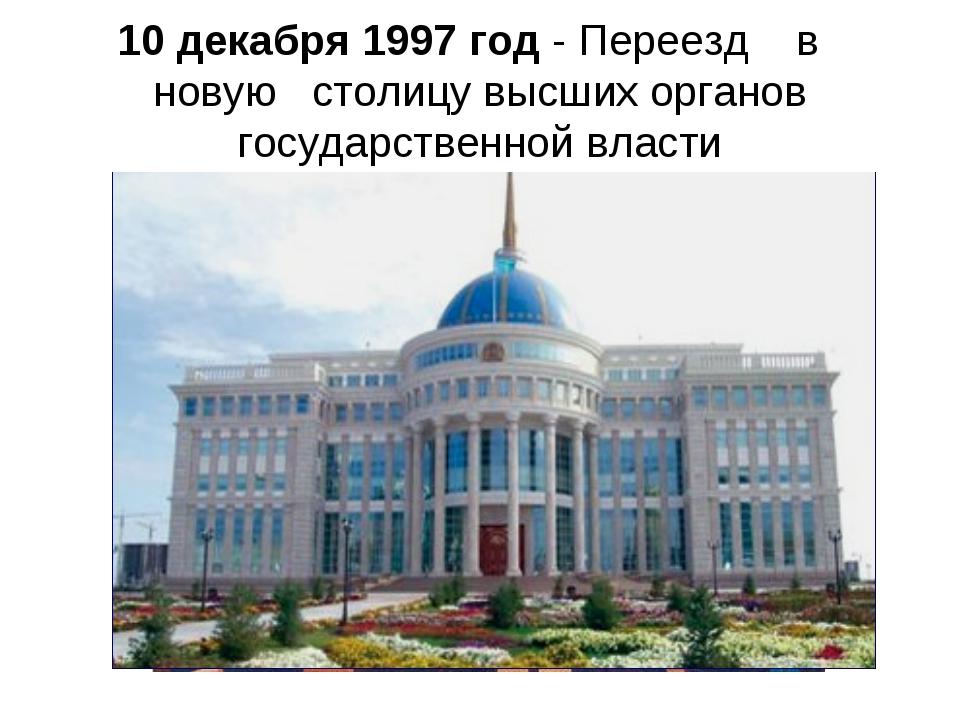 10 декабря 1997 год- Переезд в новую столицувысших органов государст...