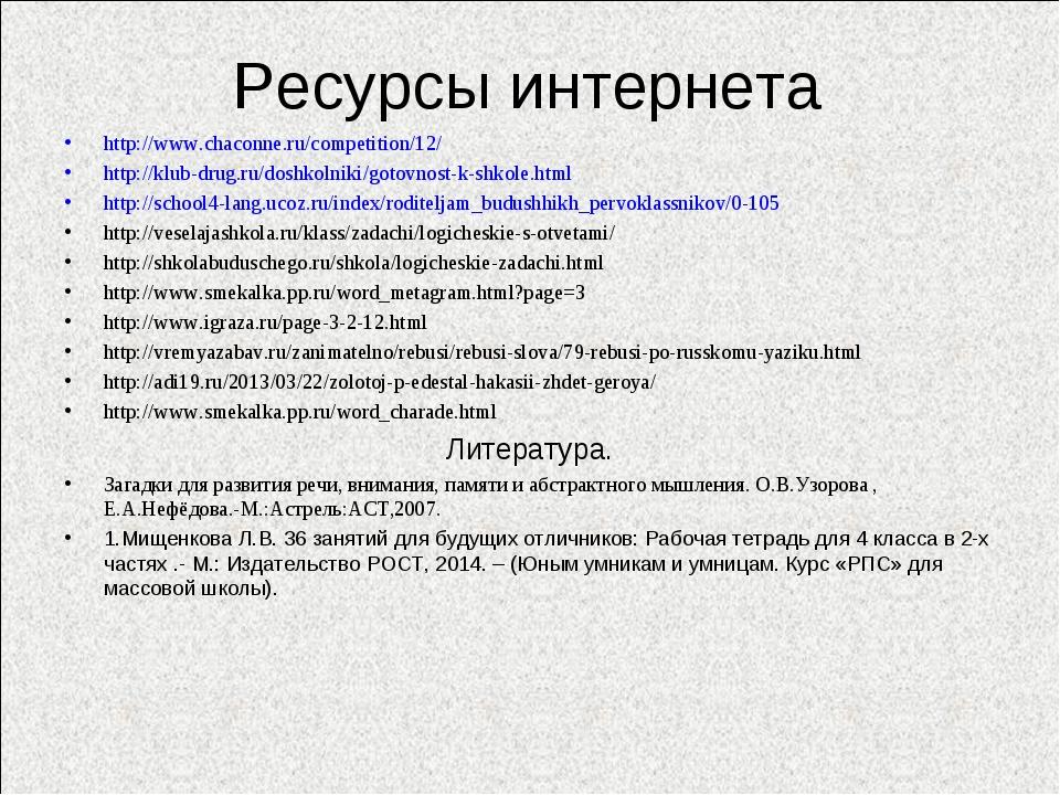 Ресурсы интернета http://www.chaconne.ru/competition/12/ http://klub-drug.ru/...
