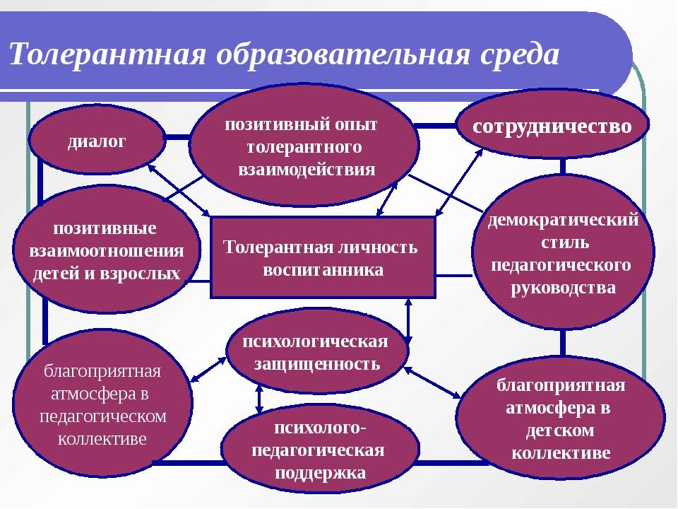 Толерантная образовательная среда Толерантная личность воспитанника диалог по...