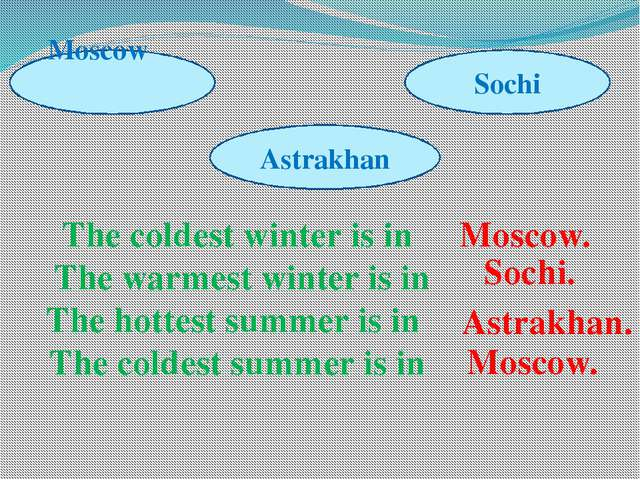 The coldest winter is in The warmest winter is in The hottest summer is in Th...