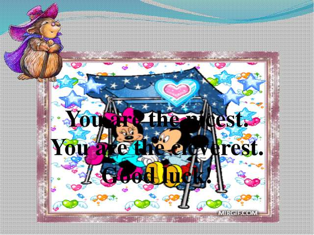 You are the nicest. You are the cleverest. Good luck!