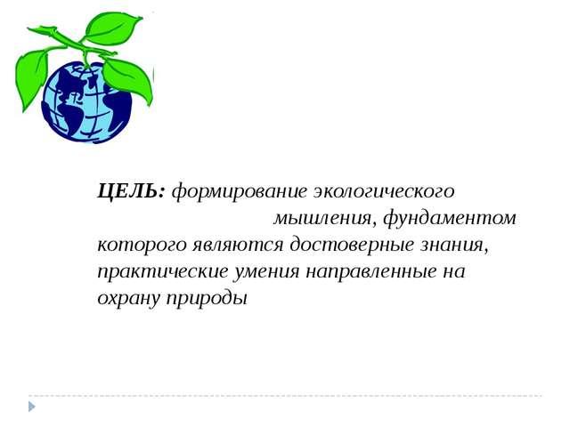 ЦЕЛЬ: формирование экологического мышления, фундаментом которого являются до...
