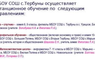 МБОУ СОШ с.Тербуны осуществляет дистанционное обучение по следующим направле